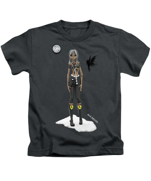 Cool 3d Manga  Girl With Bling And Tattoos In Black Kids T-Shirt