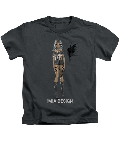 Cool 3d Manga Girl With Bling And Tattoos Kids T-Shirt