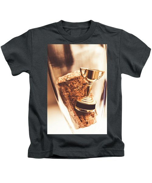 Cork And Trophy Floating In Champagne Flute Kids T-Shirt