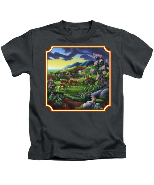 Country Landscape - Deer In The High Meadow - Square Format Kids T-Shirt