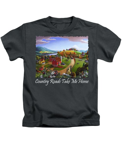 Country Roads Take Me Home T Shirt - Appalachian Blackberry Patch Rural Farm Landscape 2 Kids T-Shirt