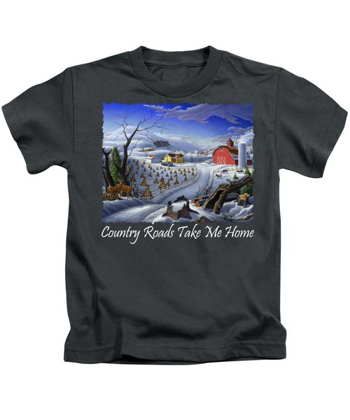 Country Roads Take Me Home T Shirt - Coon Gap Holler - Rural Winter Country Farm Landscape Kids T-Shirt
