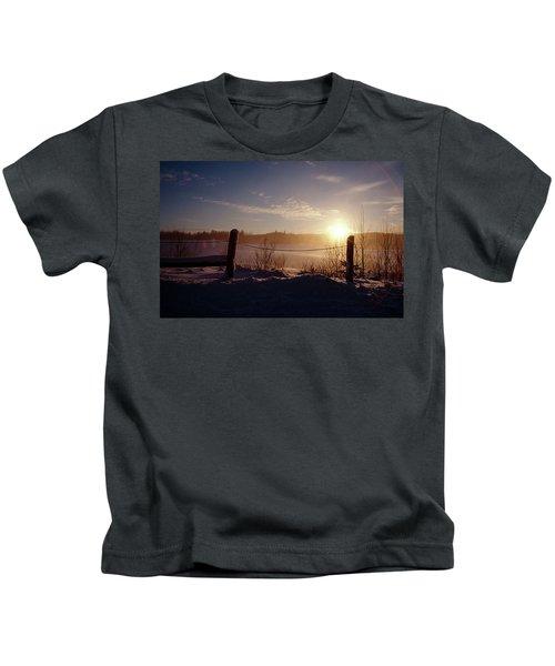 Country Winter Sunset Kids T-Shirt