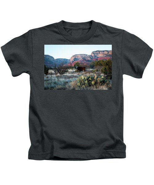 Cow At Red Rock Kids T-Shirt
