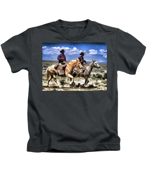 Cowboys On Horseback Riding The Range Kids T-Shirt