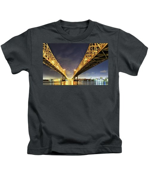 Crescent City Bridge In New Orleans Kids T-Shirt