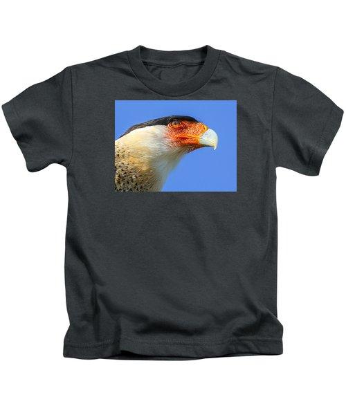 Crested Caracara Face Kids T-Shirt