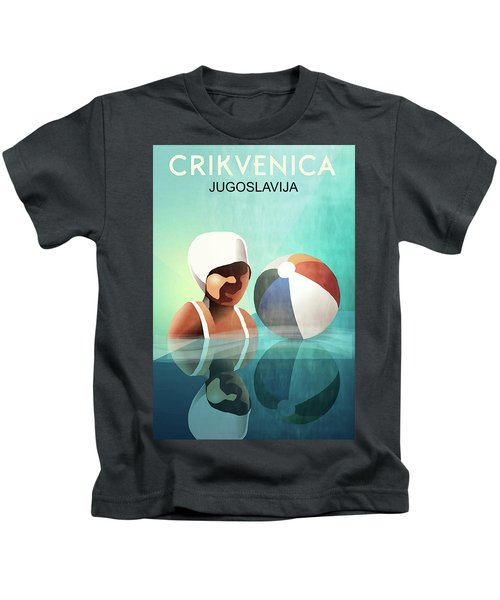 Crikvenica, Yugoslavia, Girl In Water With Beach Ball Kids T-Shirt