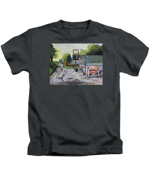 Crossroads Grocery - Elijay, Ga - Old Gas And Grocery Store Kids T-Shirt