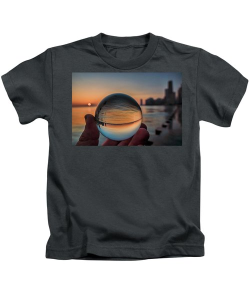 Crystal Ball On Chicago's Lakefront At Sunrise Kids T-Shirt