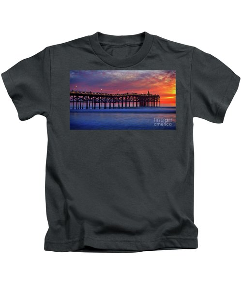 Crystal Pier In Pacific Beach Decorated With Christmas Lights Kids T-Shirt