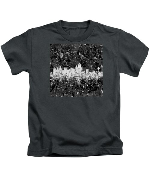 Dallas Skyline Map Black And White 5 Kids T-Shirt