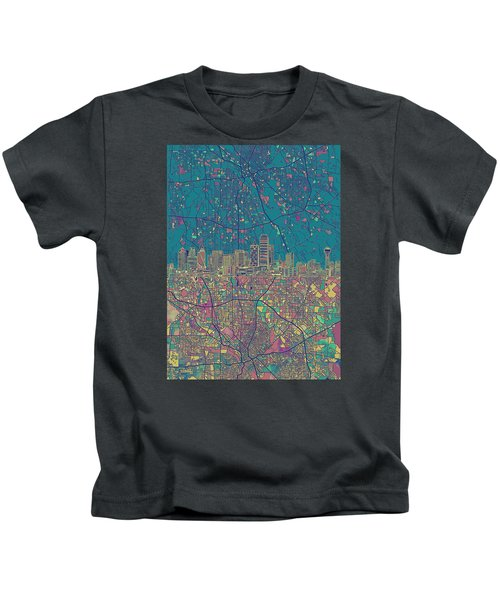 Dallas Skyline Map Green Kids T-Shirt
