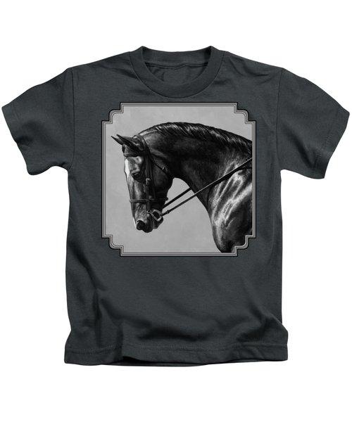 Dark Brown Dressage Horse Black And White Kids T-Shirt