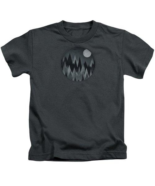Dark Mystery Abstract Geometric Triangle Peak Woods Black And White Kids T-Shirt by Philipp Rietz