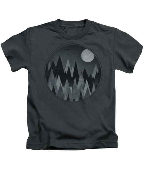 Dark Mystery Abstract Geometric Triangle Peak Woods Black And White Kids T-Shirt