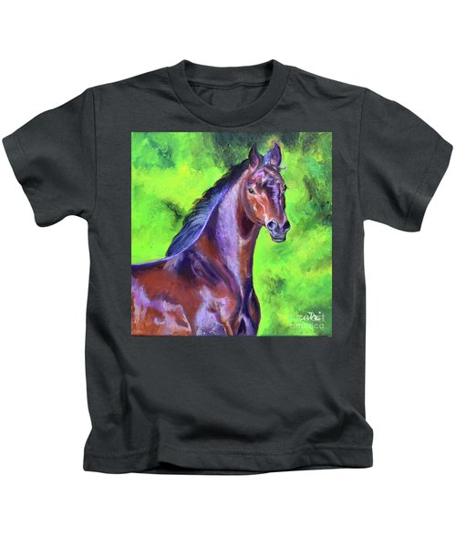 Dark Red Bay Horse Kids T-Shirt
