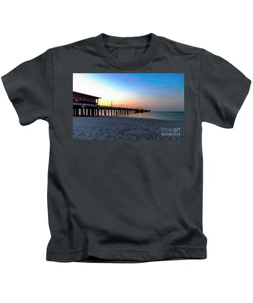 Dawn At Gulf Shores Pier Al Seascape 1283a Digital Painting Kids T-Shirt