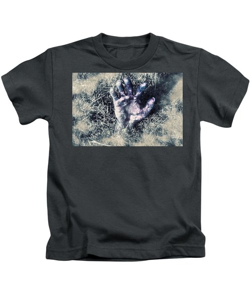 Decaying Zombie Hand Emerging From Ground Kids T-Shirt