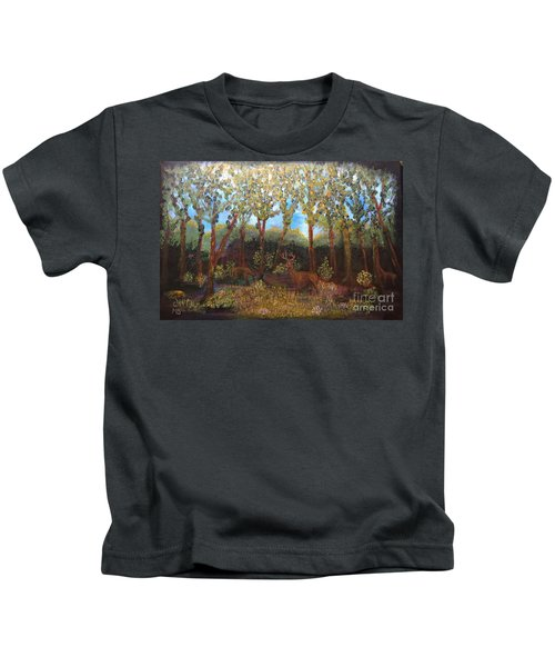 Deer In Woods Kids T-Shirt