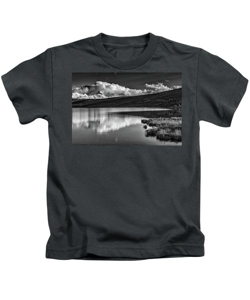 Denali Reflections In Black And White Kids T-Shirt