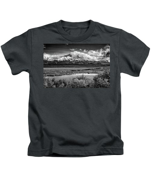 Denali, The High One In Black And White Kids T-Shirt