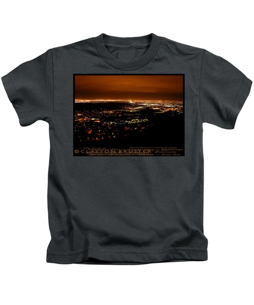 Denver Area At Night From Lookout Mountain Kids T-Shirt