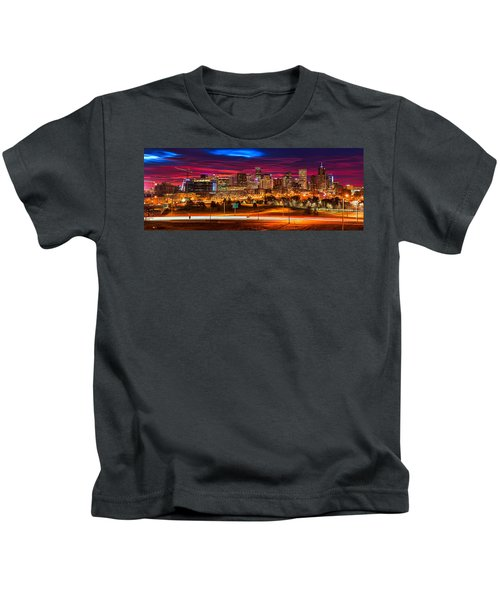 Denver Skyline Sunrise Kids T-Shirt
