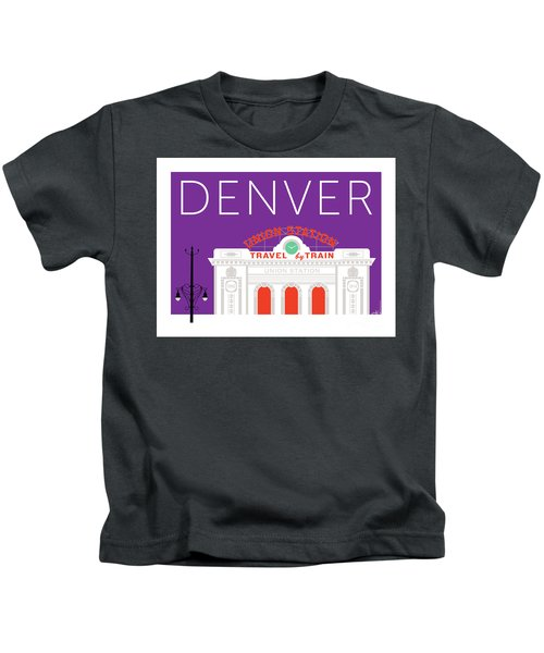 Denver Union Station/purple Kids T-Shirt