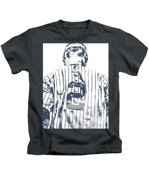 Derek Jeter New York Yankees Pixel Art 11 Kids T-Shirt