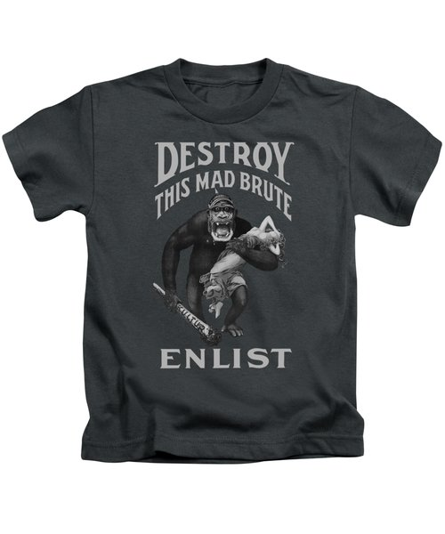 Destroy This Mad Brute - Enlist - Wwi Kids T-Shirt by War Is Hell Store