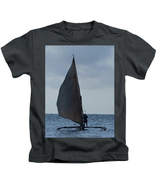 Dhow Wooden Boats In Sail Kids T-Shirt by Exploramum Exploramum