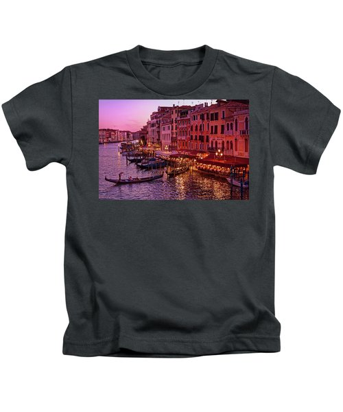 A Cityscape With Vintage Buildings And Gondola - From The Rialto In Venice, Italy Kids T-Shirt