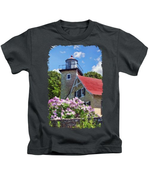 Door County Eagle Bluff Lighthouse Lilacs Kids T-Shirt