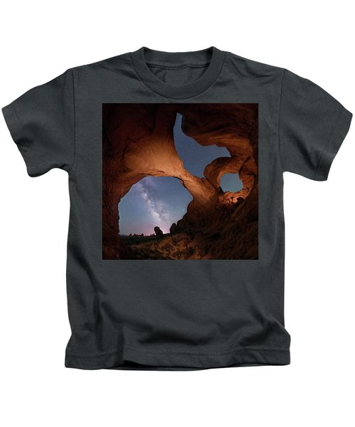 Double Arch And The Milky Way - Arches National Park - Moab, Utah 2 Kids T-Shirt