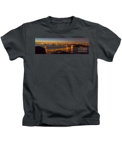 Downtown San Francisco And Golden Gate Bridge Just Before Sunris Kids T-Shirt