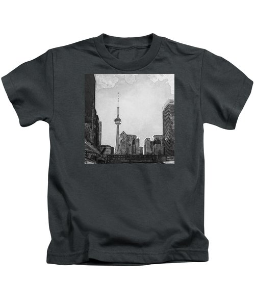 Downtown Toronto In Bw Kids T-Shirt