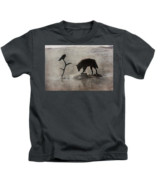 Druid Wolf And Raven Silhouette Kids T-Shirt
