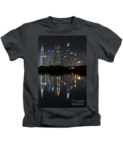 Dubai City Skyline Nighttime  Kids T-Shirt