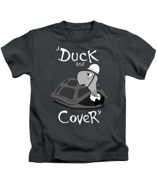Duck And Cover - Vintage Nuclear Attack Poster Kids T-Shirt by War Is Hell Store