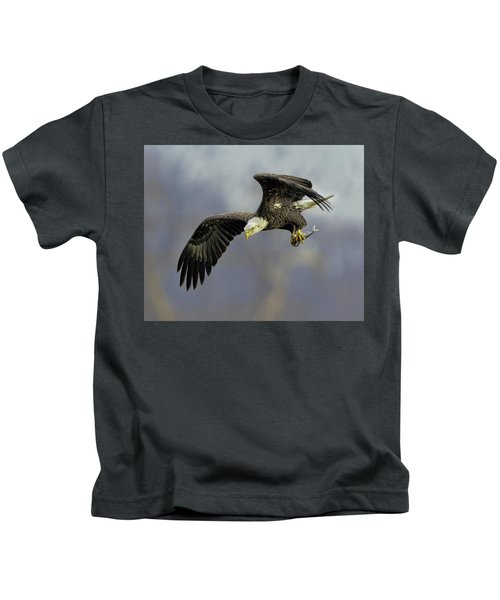 Kids T-Shirt featuring the photograph Eagle Power Dive by William Jobes
