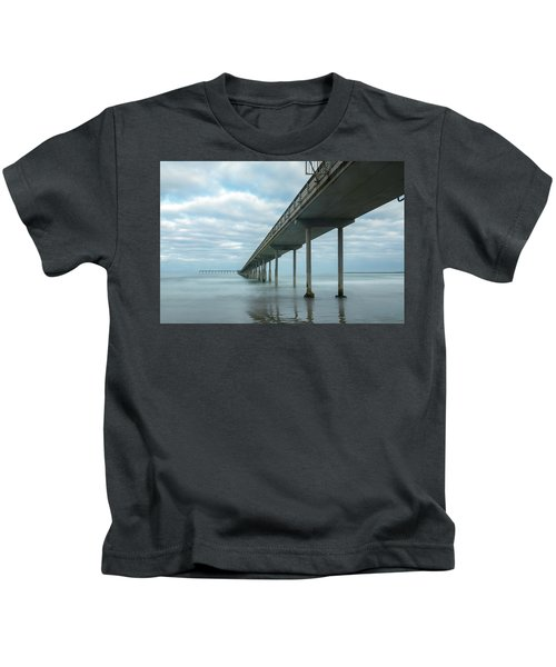 Early Morning By The Ocean Beach Pier Kids T-Shirt