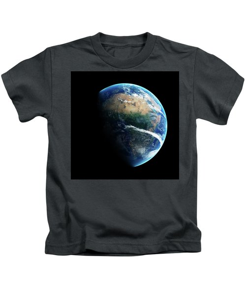 Earth Day And Night Space View Kids T-Shirt