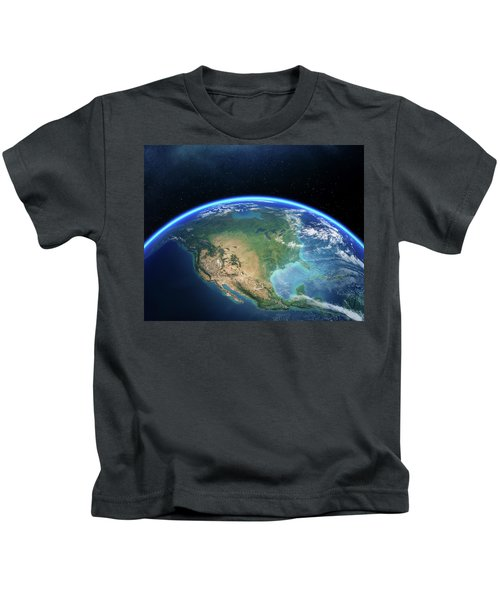 Earth From Space North America Kids T-Shirt