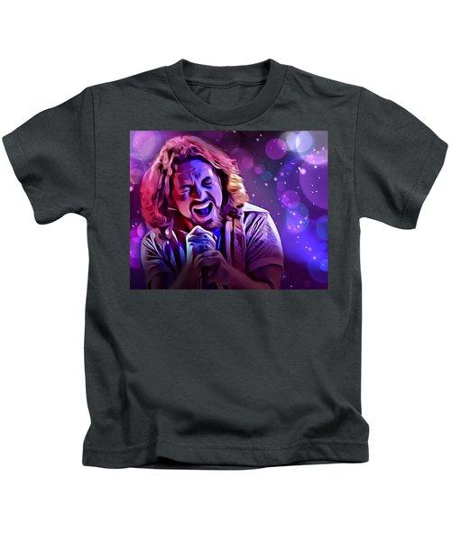 Eddie Vedder Portrait Kids T-Shirt by Scott Wallace