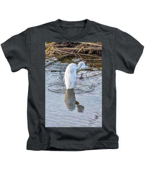 Egret Standing In A Stream Preening Kids T-Shirt