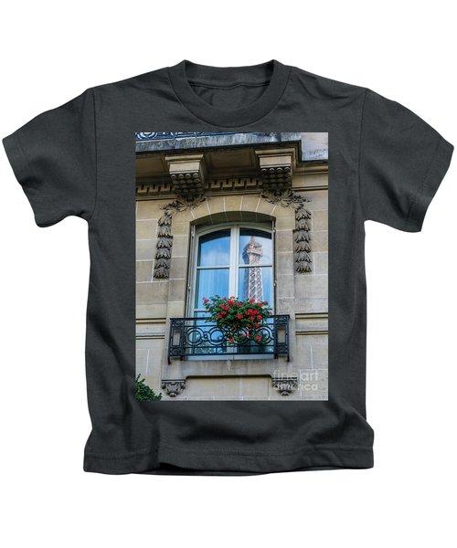Eiffel Tower Paris Apartment Reflection Kids T-Shirt by Mike Reid