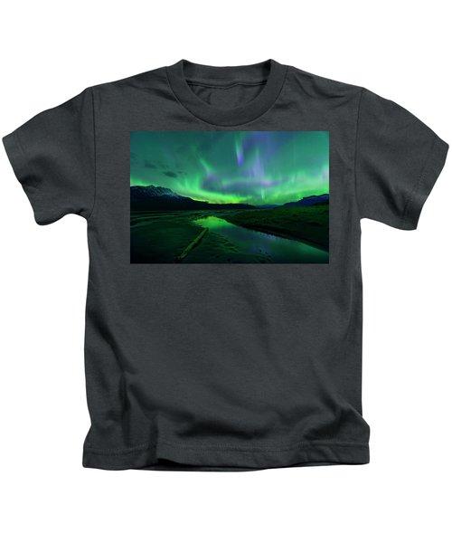 Electric Skies Over Jasper National Park Kids T-Shirt