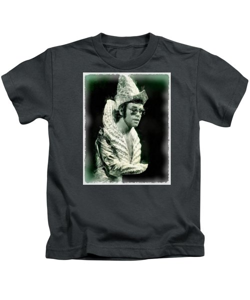 Elton John By John Springfield Kids T-Shirt by John Springfield
