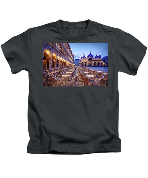 Empty Cafe On Piazza San Marco - Venice Kids T-Shirt